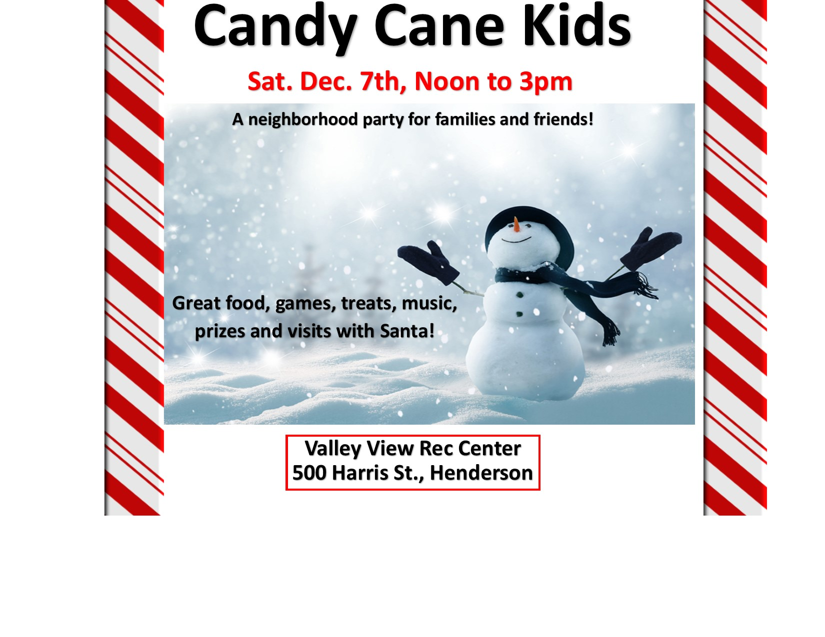 Candy Cane Kids 2019, Dec. 7th Noon to 3pm