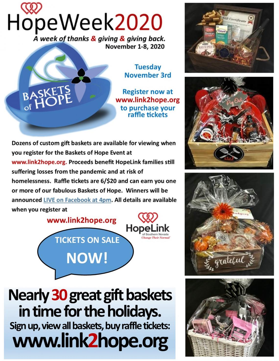 Baskets of Hope Raffle Tickets on sale through Noon Tues. Nov. 3