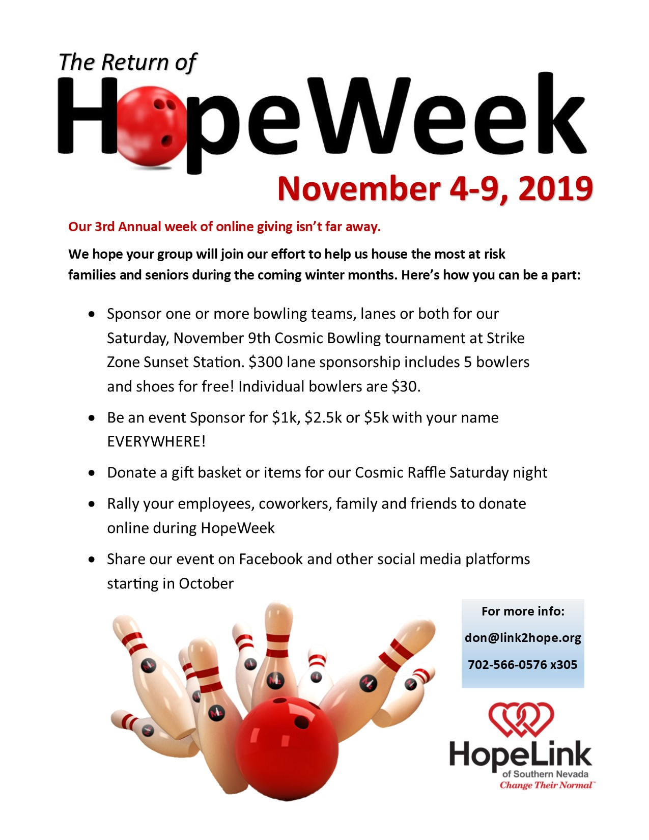 The Return of HopeWeek! Nov. 4-9